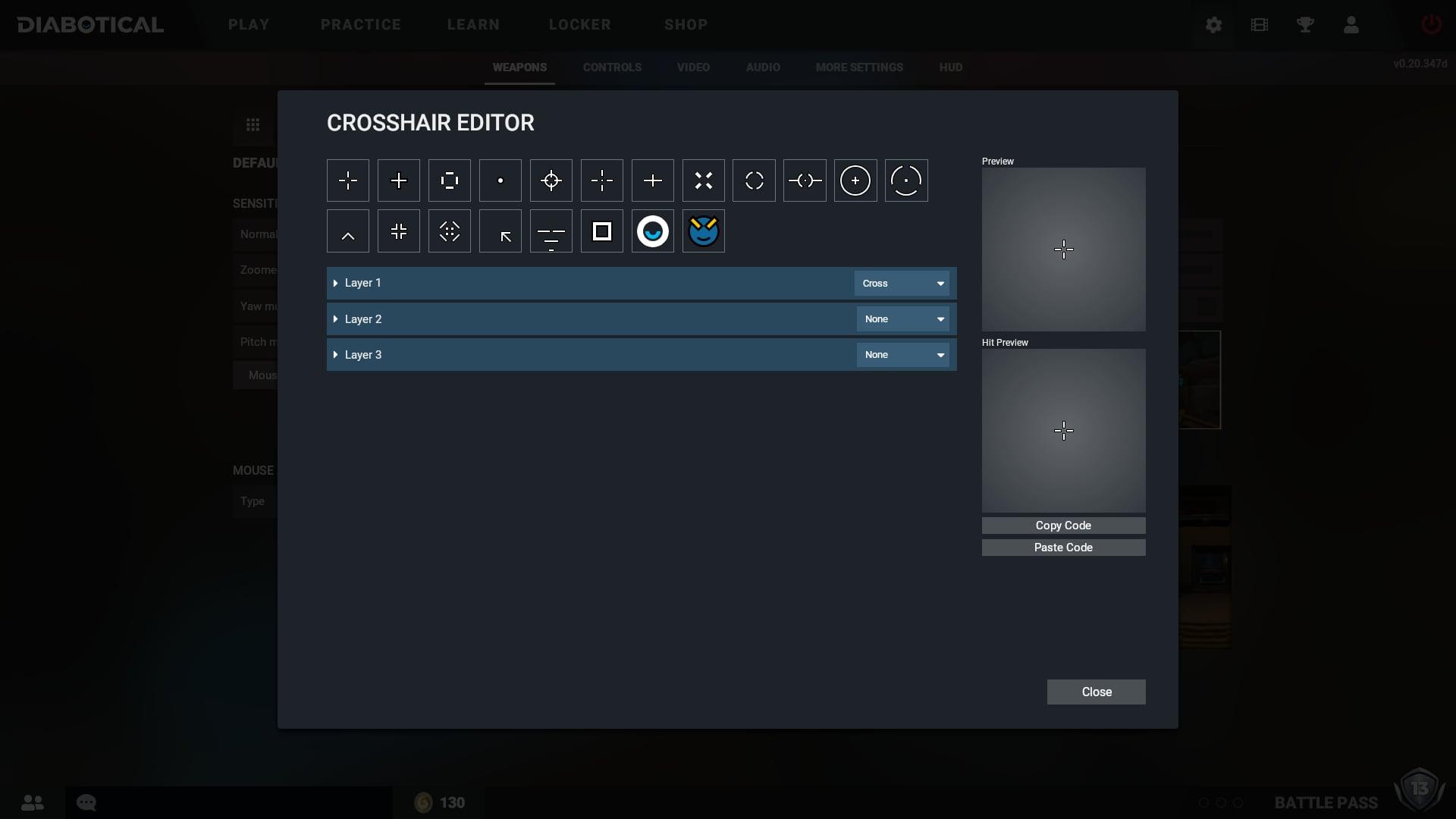 Diabotical Crosshair Editor UI