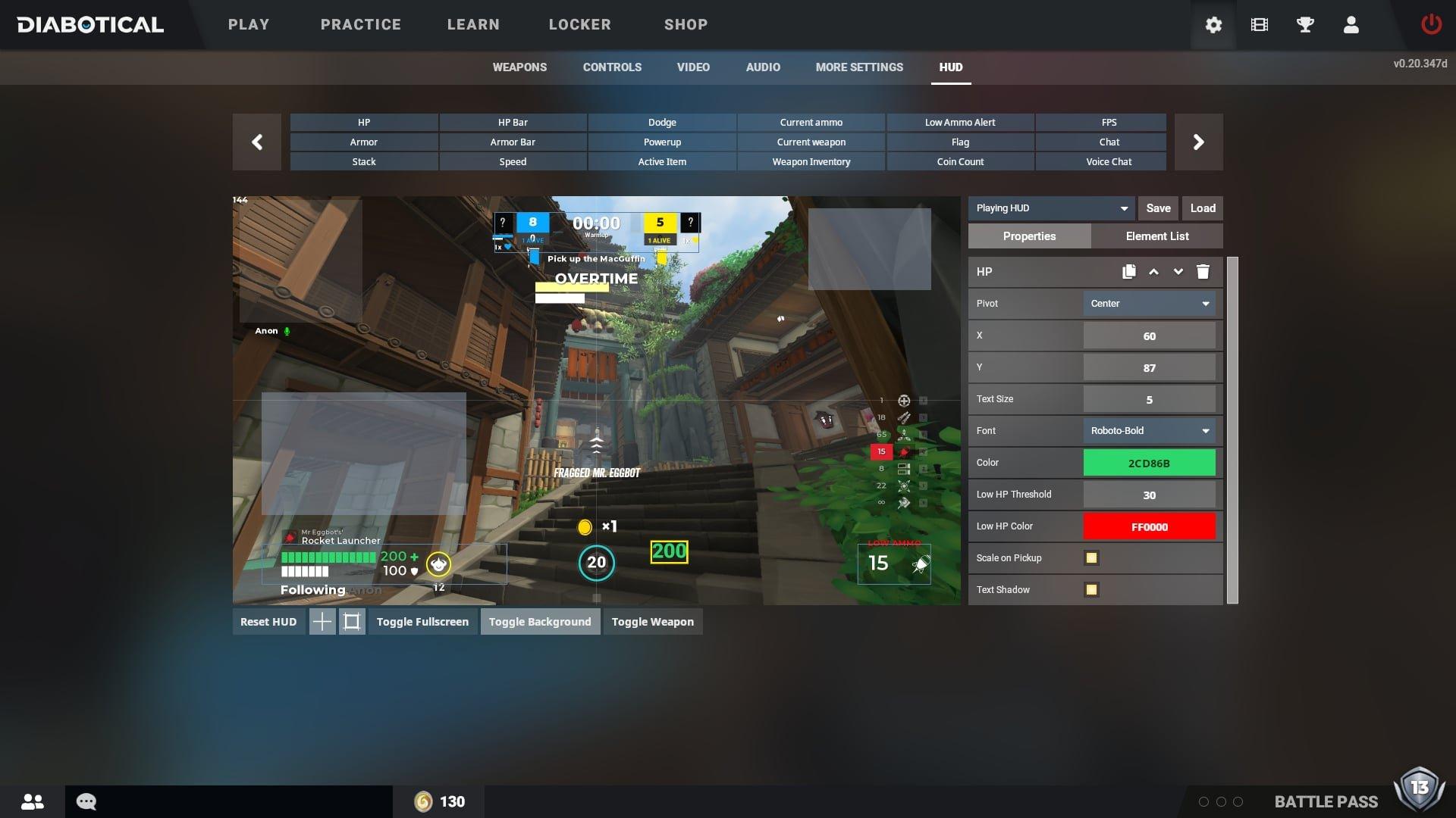 Diabotical Gameplay HUD Editor UI