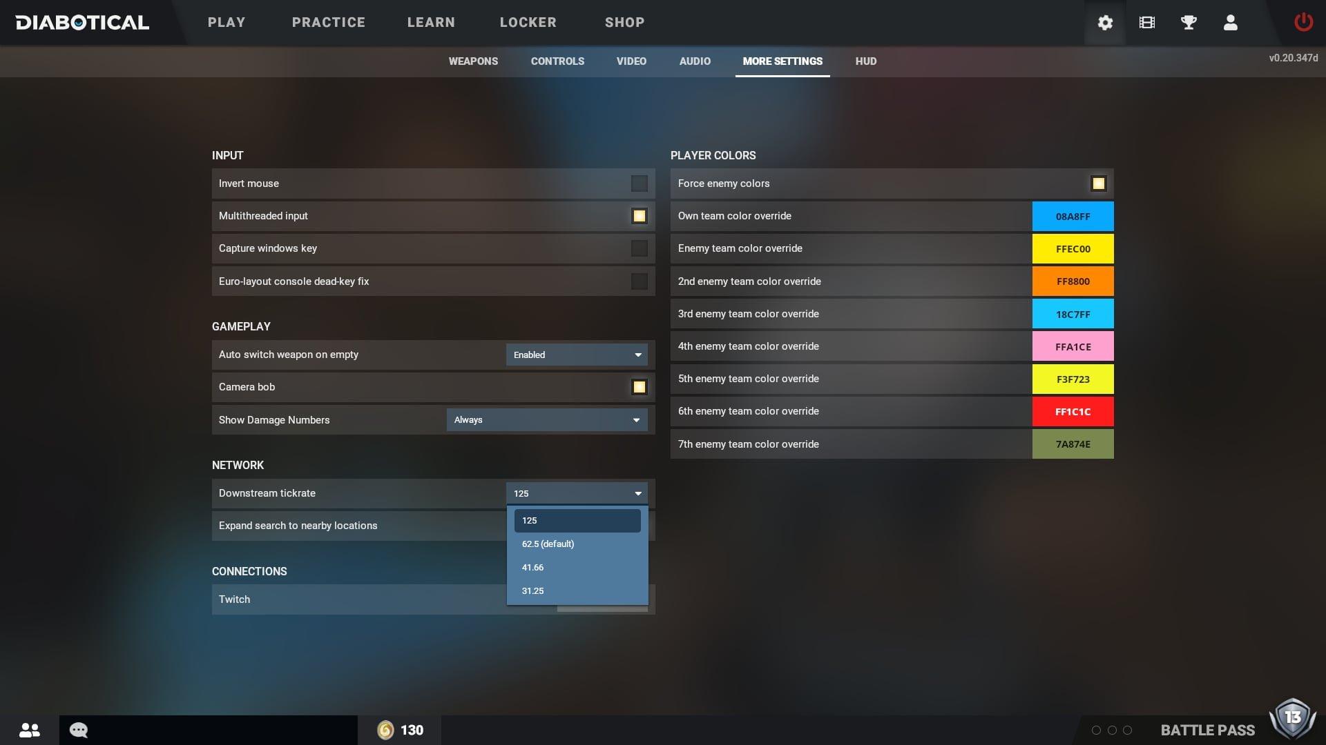 Diabotical Settings UI